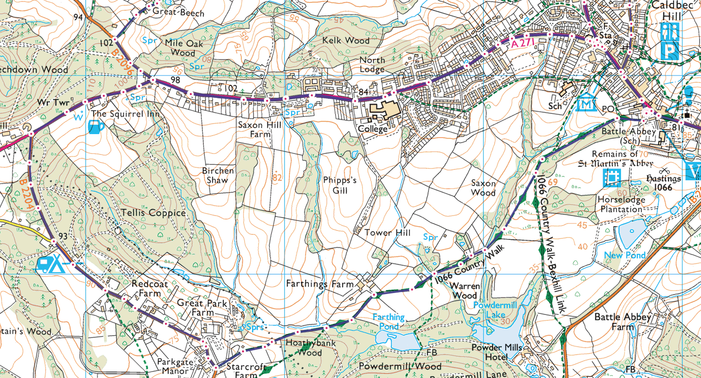OS Maps route example